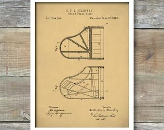 Steinway Grand Piano Patent Poster, Patent Print Piano, Music Room Decor, Piano Art, Musician Gifts, P259