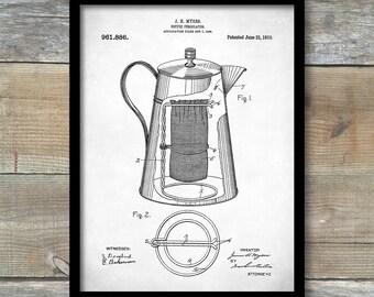 Coffee Percolator 1910 Patent Art, Vintage Coffee, Coffee Shop Decor, Diner Decor, Kitchen Wall Art, P289