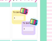 "4x5"" Kawaii TV Television Bill Label Plan Planner Planning Cute Sticker Stickers for Erin Condren Daily Personal Happy Kikki K Amelie #0571"