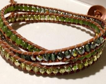 Jade Stone and Green Glass Bead Leather Triple Wrap Bracelet