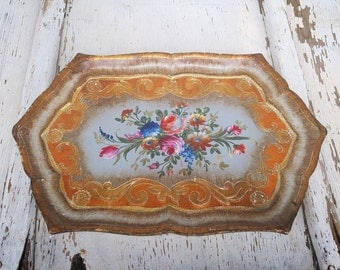 Vintage Italian Wood Hand Painted Floral Serving Tray