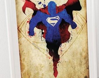 Superman (Man of Steel) 2 Minimalist Posters- Homage to DC Comic's Superman