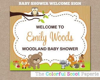 Woodland Animal Welcome Sign, Woodland Animal Shower Sign, Woodland Baby Shower, Welcome Sign, Forrest Animals (#735)