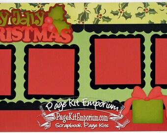 Scrapbook Page Kit Holly Jolly Christmas Boy Girl 2 page Scrapbook Layout Kit 60P