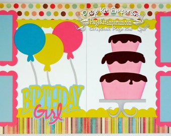 Scrapbook Page Kit Birthday Girl Balloons Cake 2 page Scrapbook Layout 77