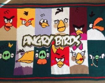 Angry Birds Handmade Crochet Blanket