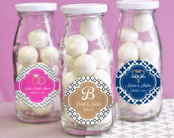 Personalized Wedding Favors-Glass Milk Bottles-Unique Wedding Favors-Wedding Ideas-Party Favor Ideas (set of 24)