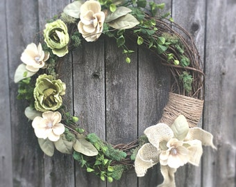 All year round wreaths,  Wall decor, Rustic wreath, home decor, Home decor mossy, Green wreath, Front decor, Wall decor, Wreaths,
