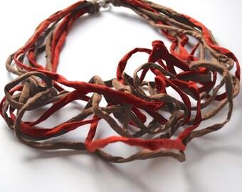 Textile Jewelry Dark Orange and Bronze Statement Fiber Necklace CINNAMON Shantung Necklace Italian Handmade Christmas Gift Fashion Jewellery