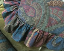 Original authentic Ralph Lauren pair of 2 ruffled euro shams in teal blue/burgundy/brown paisley pattern