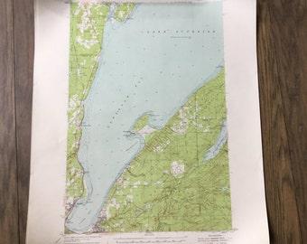 Vintage 40s map Keweenaw Bay Lake superior Michigan aerial topography map