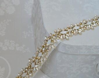 OPAL Gold Crystal Bridal Belt, Wedding Dress Sash.
