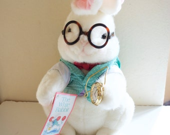 The White Rabbit from Alice in Wonderland Stuffed Plush Bunny 1991 Target