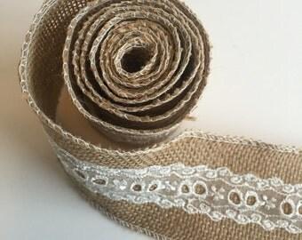 Lace BURLAP Ribbon (Wired) Mason Jar Wrap -Wedding Decor - Burlap Wreath - Rustic wedding - Rustic decor - Burlap bow - DIY IDEA