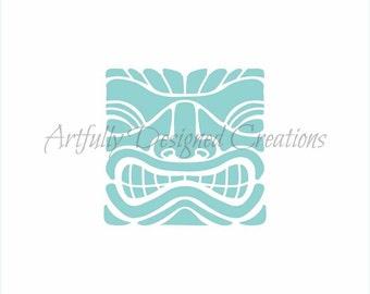 Hawaiian Tiki Face Stencil