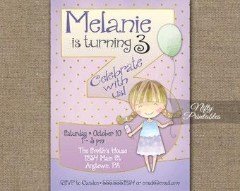 Girls 3rd Birthday Invitations - 3rd Birthday Invitation - Girls 3rd Birthday Party - 3 Year Old Birthday Invites - Printable 3 Years CG1