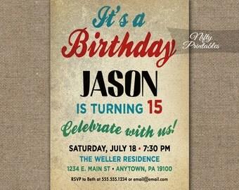 Teen Boy Birthday Invitations - Boys Birthday Party Invitation - Teen Tween Invite Printable 10th 11th 12th 13th 14th 15th 16th 17th 18th