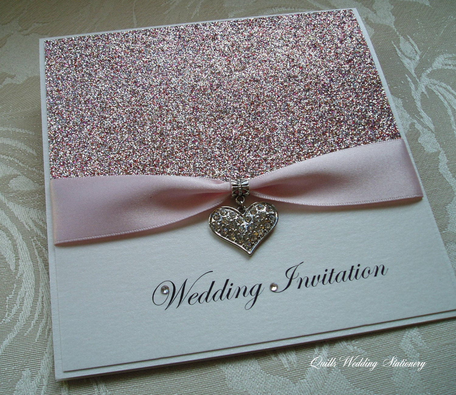 Amour. Glitter Wedding Invitation. Pink Quartz Glitter With