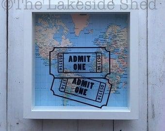 Shadow Box Ticket | Ticket Shadow Box | Admit One Shadow Box | Ticket Stub Box | Travel Memory Box | Memory Shadow Box | Concert Ticket Box