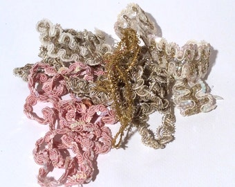 Vintage 1960s Grab Bag Sack o' Shiny Sewing Trimming
