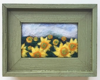 """Wool Needle Felted Painting~""""Sunflower Field"""""""