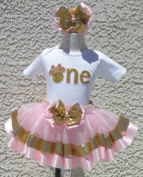 First Birthday One Minnie Mouse Pink And Gold Satin Ribbon