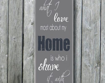 What I Love Most About My Home Is Who I Share It With Typographic Sign,Subway Art,Housewarming Gift,Wall Decor,Shabby Chic,Vintage Sign