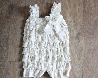 Ivory Baby Girl Romper, Baby Lace Romper, Newborn Lace Romper, Baby Photo Prop, Lace Petti Romper, Romper For Baby Girls, Ruffle Baby Romper
