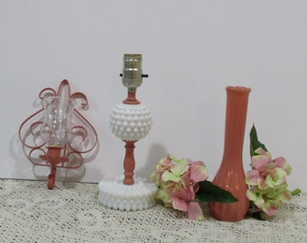 Shabby Chic Collection with Milk Glass Lamp, A Metal Wall Sconce, and a Vase ~ Coral Color ~ Milk Glass Lamp Accented in Coral ~ Upcycled