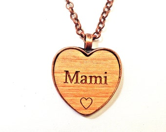 MAMI wooden heart NeCKLaCE pendant MAMI's jewelry necklace MAMMIE keychain wood name handmade engraved wooden personalized custom charm