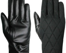 Unisex Black Thinsulate Quilted Gloves with Faux Leather Palm by Easy Off Gloves