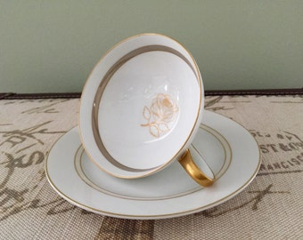 Vintage Rosenthal Rose Germany 2 Cups and 2 Saucers Set Gold Rose with Gold Trim