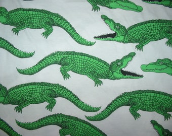 Cotton Jersey Knit Fabric Green Crocodile By The Yard