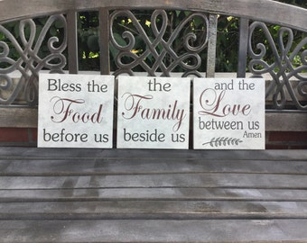 Kitchen Sign, Custom Kitchen Decor, Bless This Family, Bless This Food, Kitchen 3 Piece set, Custom CANVAS, Choose Your Own Color, Love