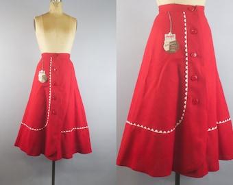 Red Robin Skirt  / 1950s Rayon Skirt / 50s Skirt w/ Tags!
