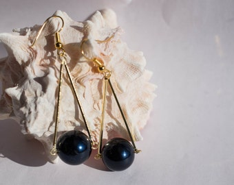 Navy Blue pearl drop boho triangle earrings
