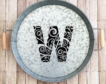 Monogrammed Serving Tray, Galvanized Custom Serving Tray, Metal Serving Tray, Personalized Tray, Housewarming Gift Custom Tray