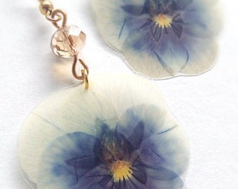 Real Flower Jewelry- Pansy Earrings- Pressed Flowers- Botanical Jewelry- Hand Crafted- Nature Jewelry