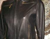 vintage punk/steam punk/rock/goth-Black leather biker style jacket.Size10. Mode Petite.