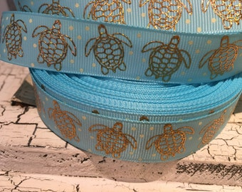 "7/8 "" Preppy Nautical Gold Hologram Turtle grosgrain ribbon sold by the yard"
