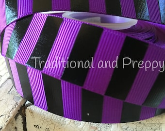 "7/8"" Halloween black foil and purple stripe grosgrain ribbon"
