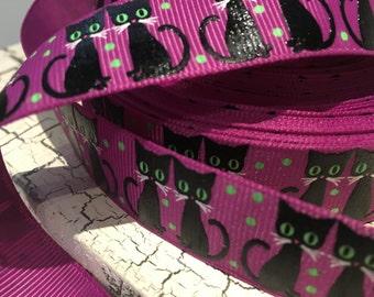 "7/8"" Black Halloween Cat Kitten on Purple  grosgrain"
