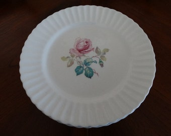 Set of 8 English Fondeville Bone China Embassy Ware Rose Plates  with Embossed Ruffle Border.