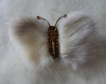 Large 1950s Vintage BLOND MINK Butterfly with amber crystal's was 13.00 NOW 8.00