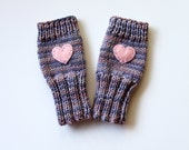 Girls Fingerless Gloves, Cute Girls Gloves, Tween Girls Gloves, Gloves with Heart, Winter Berry Gloves, Fingerless Kid Gloves, Cute and Warm