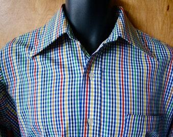 Men's Vintage Hall-Prest Cotton Blend Checked Dress Shirt/1960s/ Size M