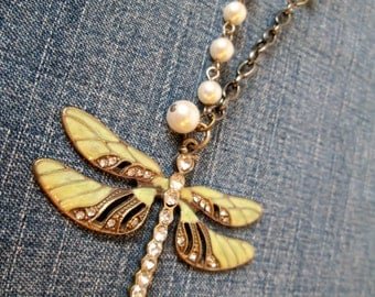 Dragonfly Pendant Necklace with Sage Green and Pearl Glass Beads and varied Chain; Gift for Her; Vintage Style, Dragonfly