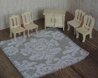 Doll house carpet linen floor rug dollhouse textile natural taupe white miniature patterned carpet