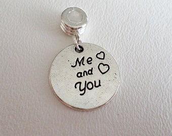 Me and You Charm for European Charm Bracelets, Sold Individually, Valentines Day Birthday Gift for Girlfriend, ID 263226171