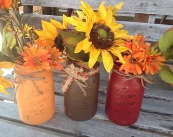 Mason jars set of three, fall decoration,  fall colors Mason jars, centerpiece